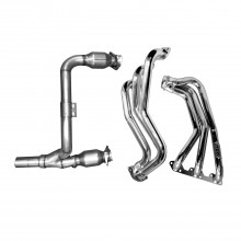 Jeep Wrangler 3.8 Long Tube Headers w/ Cats - Polished Silver Ceramic Finish (07-11)