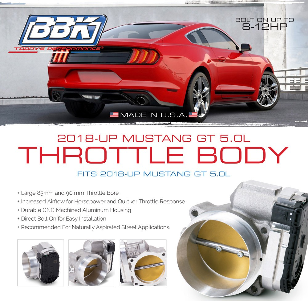 2018 2019 Ford Mustang 5.0 GT Coyote BBK Throttle Bodies Now In Stock